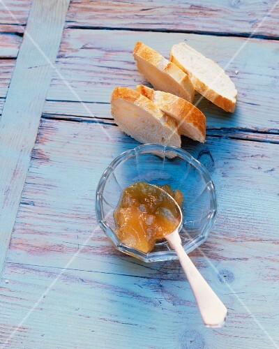 Rhubarb and apple jam with scented geraniums – StockFood