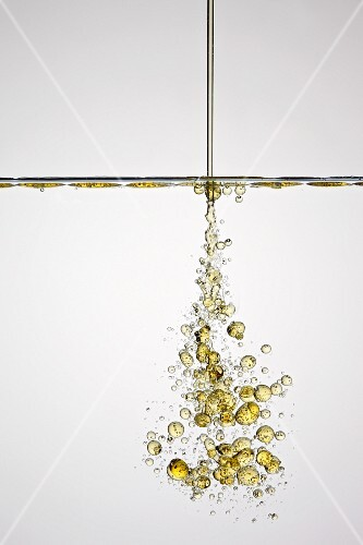 Oil drops in water, close-up