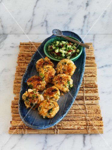 Rice and prawn cakes with cucumber relish