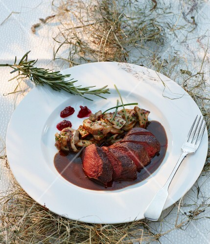 Saddle of venison with mushrooms