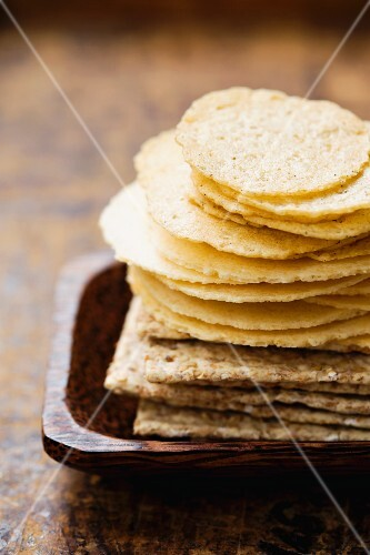 A stack of various crackers