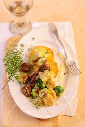 Gnocchi with chestnuts and Brussels sprouts