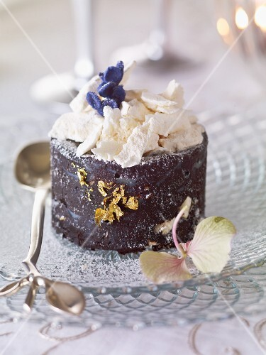 Chocolate semi-freddo with gold leaf