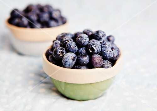 Bowls of fresh blueberries