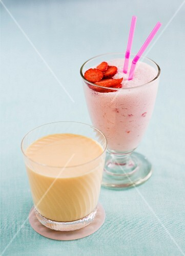 A strawberry smoothie and a peach yogurt drink