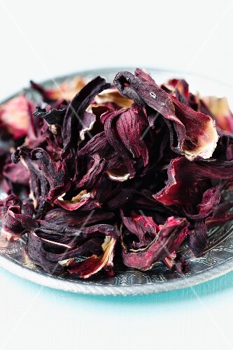 Dried Hibiscus Flowers on a White Background