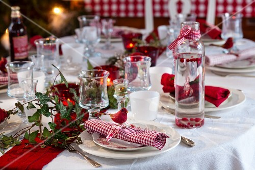 A table laid for Christmas dinner (Sweden)