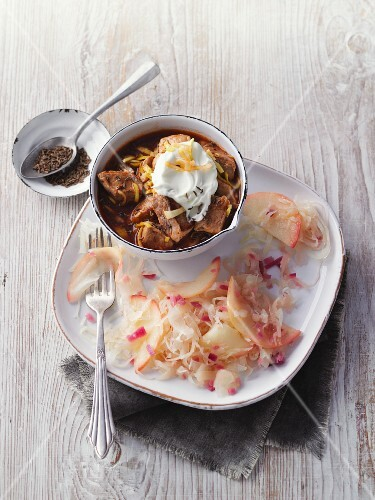 Quick pork goulash with apple sauerkraut
