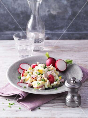 Egg salad with turkey and radishes