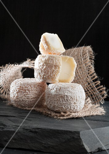 Chavignol (French goat's cheese) on a piece of jute
