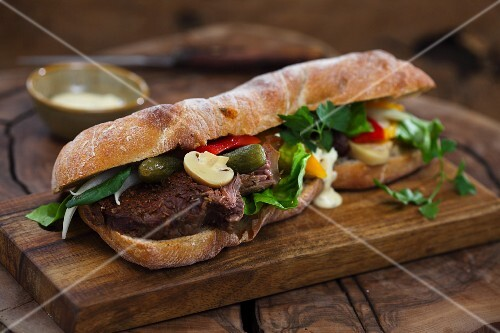 Baguette sandwich with beef and mixed pickles