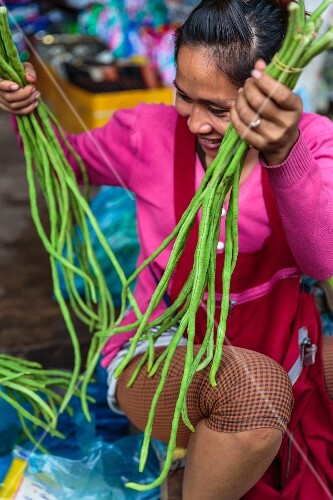 A Laos woman with yard-long beans at a market in Vientiane, Laos