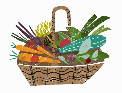 A basket of fresh vegetables (illustration)