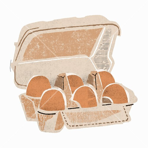 Six brown eggs in an egg box (illustration)