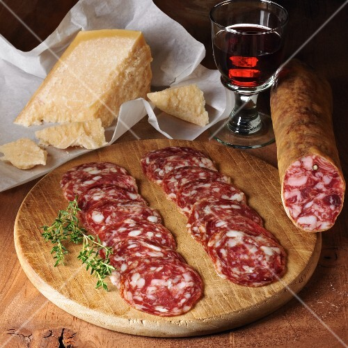 Salchichon and Parmesan cheese with red wine