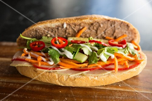 Banh mi (sandwich with carrots and coriander, Vietnam)