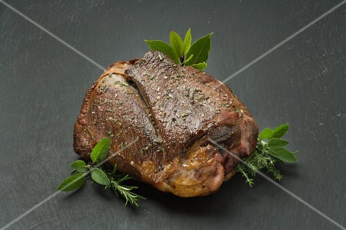 Leg of lamb with fresh herbs