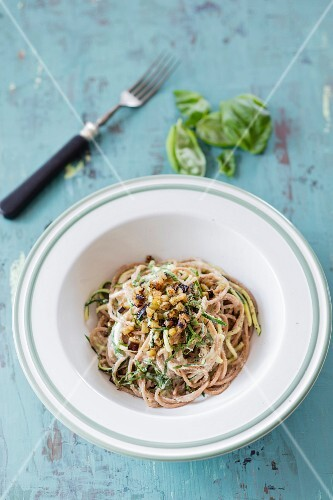 Courgette and lupine carbonara with aubergine bacon