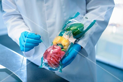 Packaged peppers being tested in a laboratory