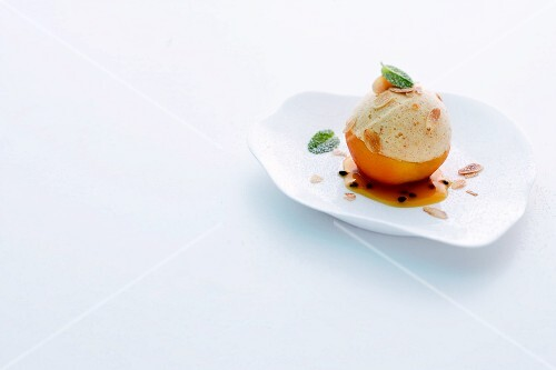 Almond mousse on a poached peach