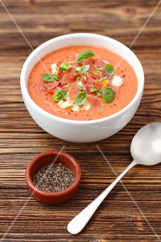 Salmorejo - cold tomato soup with ham and egg, Andalusia