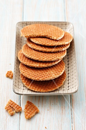Honey wafers on a dish