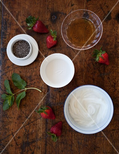 Ingredients for chia pudding with strawberries
