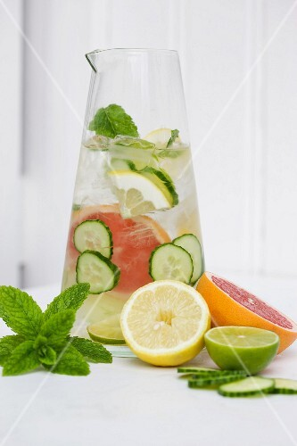 Citrus and cucumber water with fresh mint