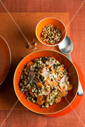 Lentil salad with pine nuts