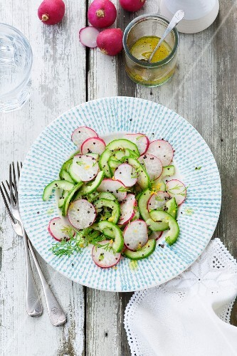Radish and cucumber salad with deer and mustard seed, lemon and olive oil dressing