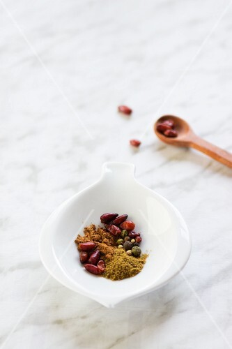 A bowl of spices for making a spice mixture
