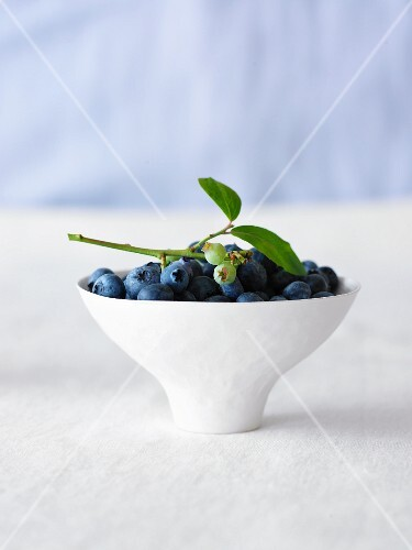 A bowl of blueberries with a leaf