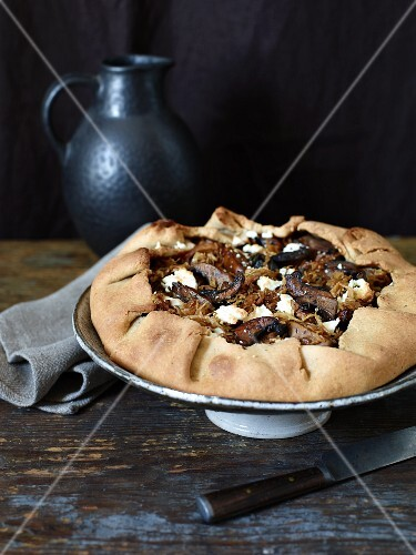Cabbage and mushroom galette with feta cheese
