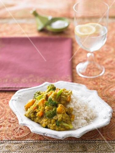 Winter vegetable dhal with rice (India)