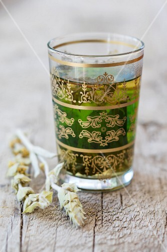 Verbena tea in an oriental tea glass