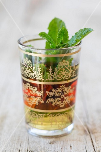 Peppermint tea in an oriental glass