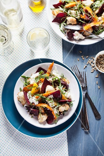 Vegetable salad with oranges and sunflower seeds