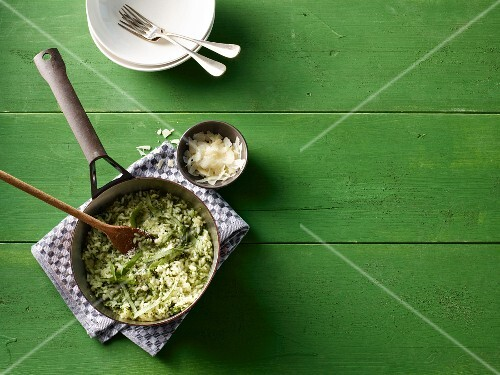 Wild garlic risotto with Parmesan cheese