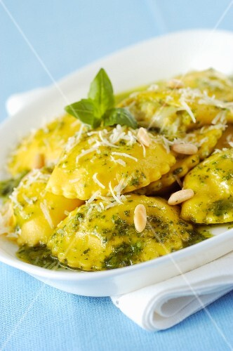 Ravioli di bianchetti with pine nuts and pesto