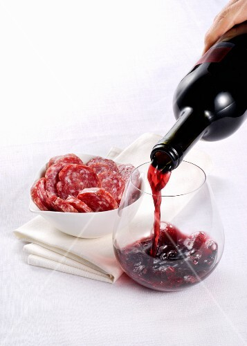 Red wine and salami