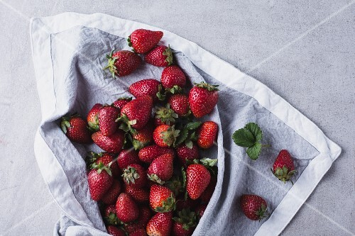 Fresh strawberries on a white cloth (seen from above)