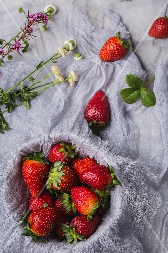 An arrangement of fresh strawberries