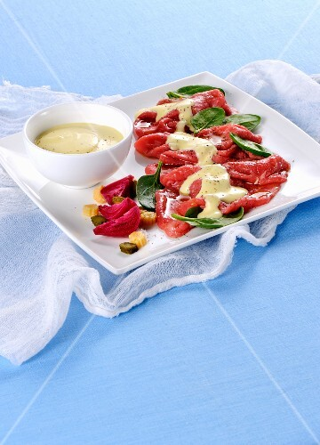 Beef carpaccio with cheese cream