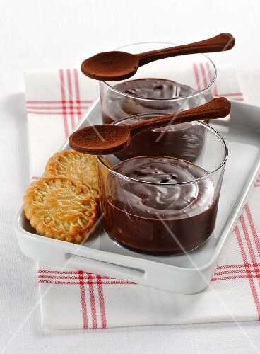 Cold chocolate cream with biscuits