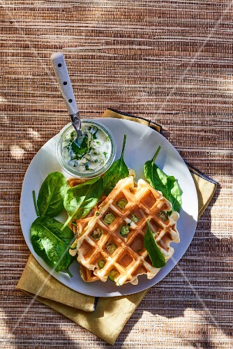 Waffles with courgettes and spinach