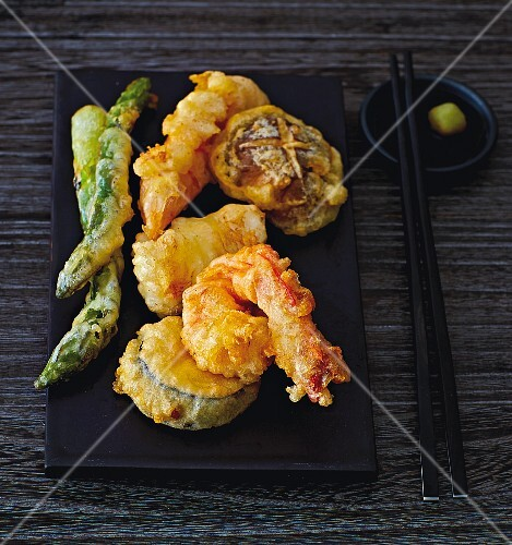 Tempura with vegetables and prawns