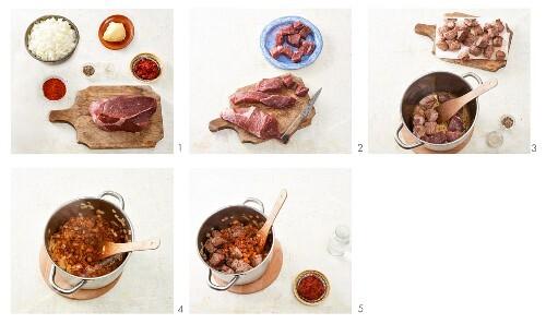 Beef goulash being prepared