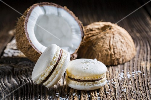 Coconut macaroons on a wooden table