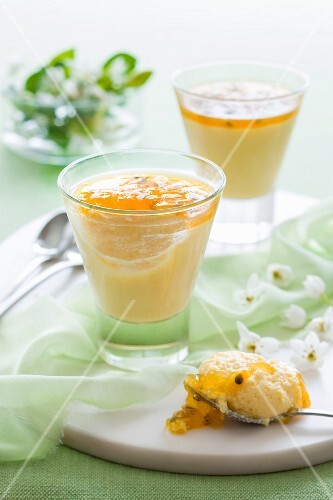 Yoghurt mousse with mango and passion fruit
