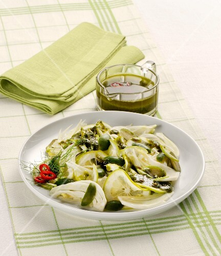 Fennel and lemon salad with a chilli and herb sauce